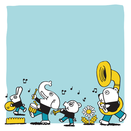 animal play music.vector blank space