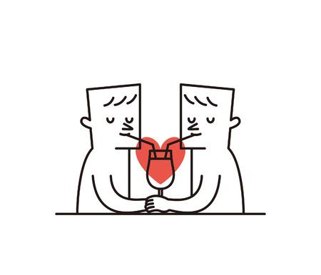 Vector illustratie -. Gelukkig Paar Valentijnsdag Stock Illustratie