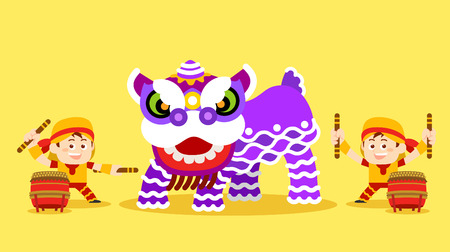 traditionally chinese: Vector illustration - Chinese Lion Dance