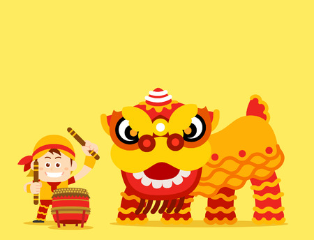 Vector illustration - Chinese Lion Dance