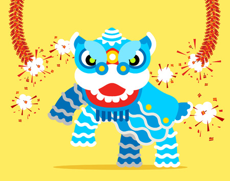 asian ethnicity: Vector illustration - Chinese Lion Dance