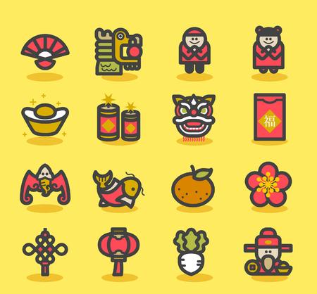 Vector illustratie - Chinese Nieuwjaar Pictogrammen