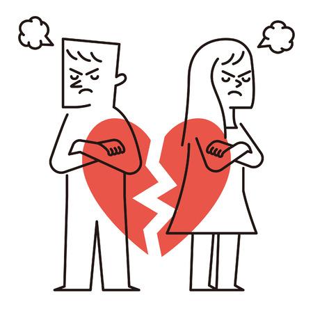 Vector illustratie - Hart van het Paar gebroken