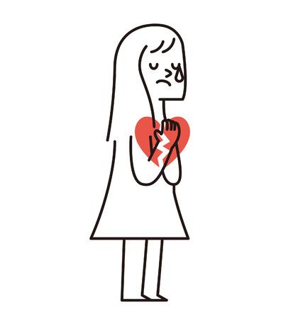Vector illustratie - Droevig Meisje Met Hart Gebroken Stock Illustratie