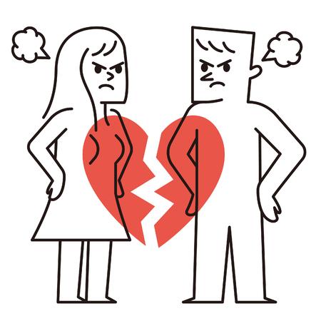 Vector illustration - Paar met gebroken hart