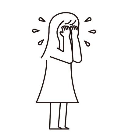 Vector illustratie - Cry & Sad vrouw