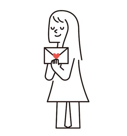 Vector illustratie - Vrouw met liefde brief Stock Illustratie