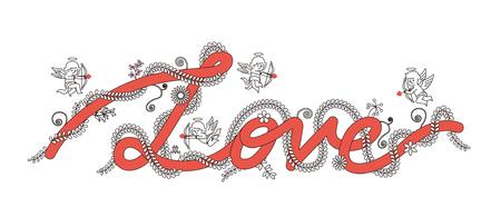 Vector illustratie - Liefde tekst met engel, Cupido