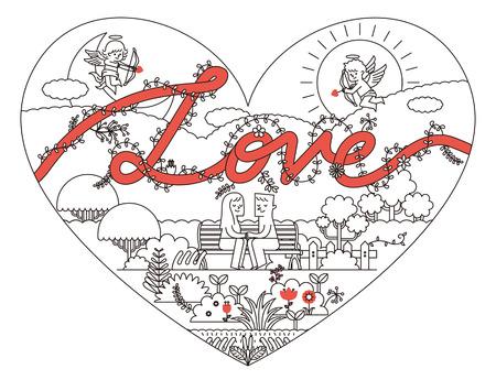 Vector illustration - tekst van de Liefde met Cupido in bloementuin
