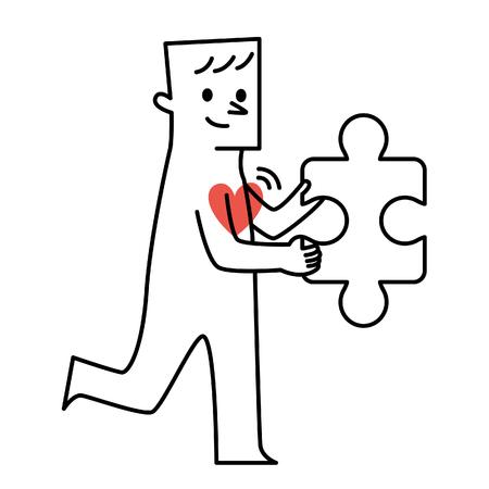 Vector illustratie - Man met rood hart houdt een puzzel