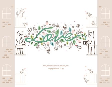 Vector illustratie-Gelukkige Valentijnsdag