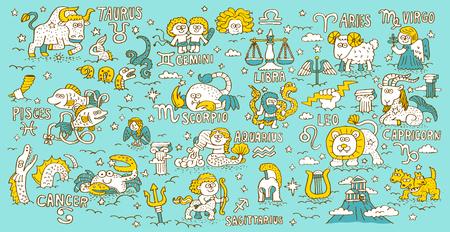 Doodle hand getekende dierenriem, sterrenbeeld, Griekse mythologie - vector illustratie