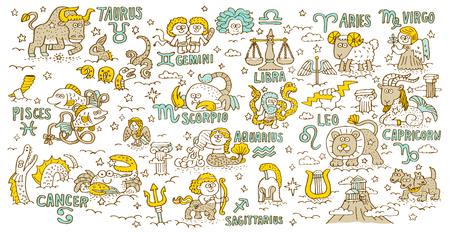 Doodle hand getekende, Constellation, de Griekse mythologie - Vector illustratie Stock Illustratie