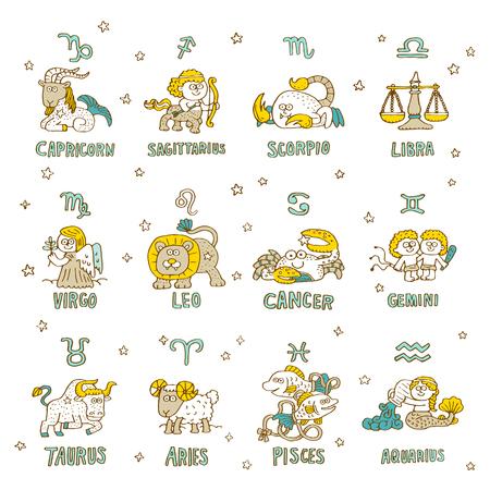 Hand getekende dierenriem pictogram set - vector illustratie Stock Illustratie