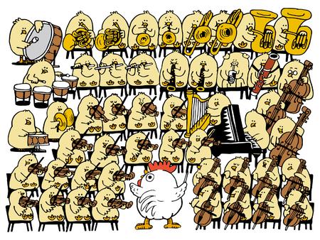 symphonic: Vector illustration - Chicken concert Symphonic orchestra. Illustration