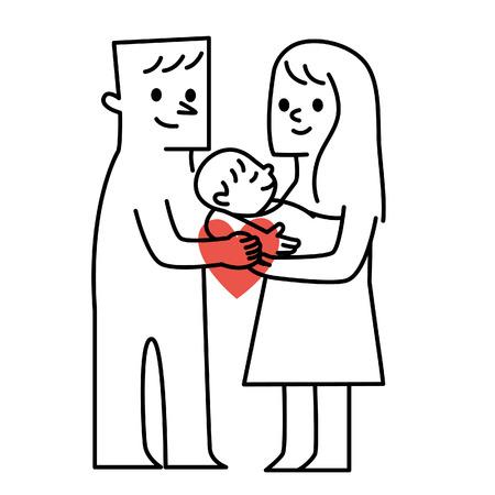 Ouders en baby.vector illustratie