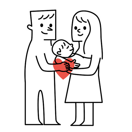 pappy: Parents and baby.vector illustration