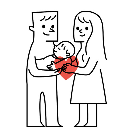 aegis: Parents and baby.vector illustration
