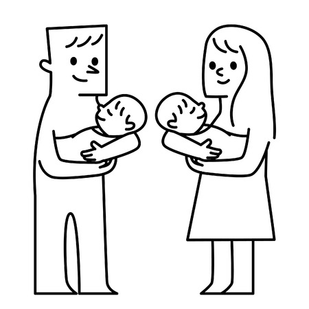 pappy: Parents and babies. Vector illustration