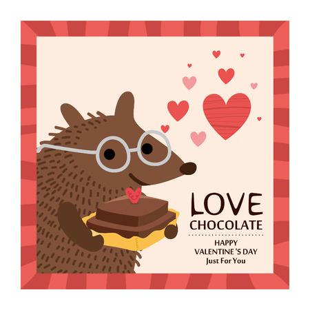 Leuke egel Valentijnskaartkaart. Vector illustratie.