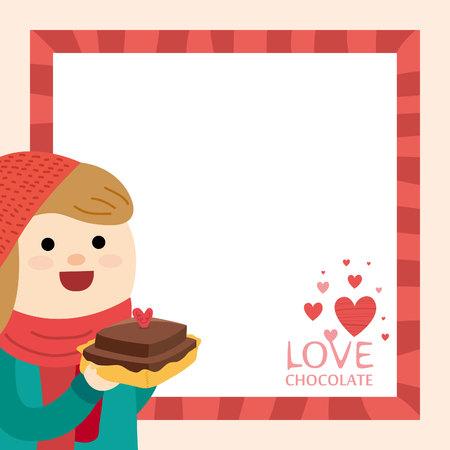 Meisje en Valentijnsdag Stock Illustratie