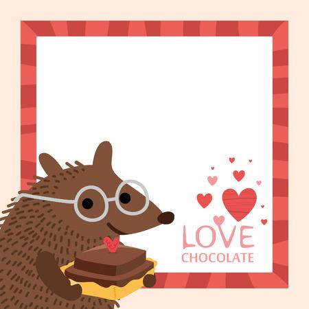 Leuke egel Valentijnsdag kaart. Lege ruimte