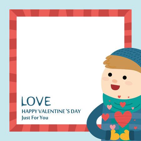 Kleine jongen en Valentijnsdag. Vector illustratie