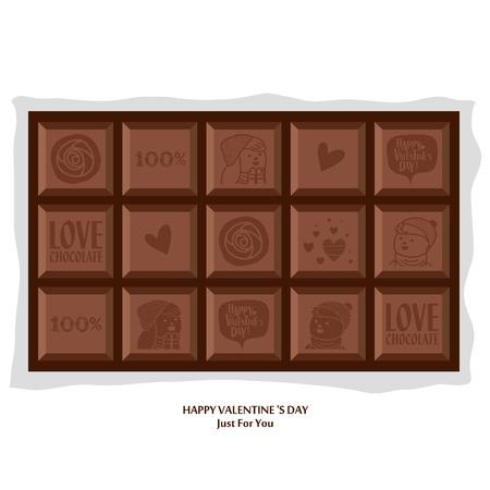 Chocolade Valentijnsdag. Vector illustratie