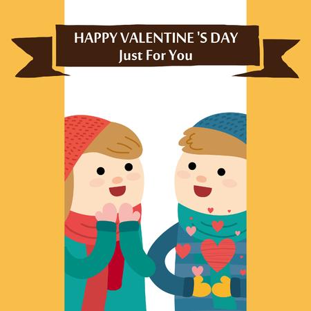 Valentijnsdag kaart. Romantische vectorillustratie. Stockfoto - 71677750