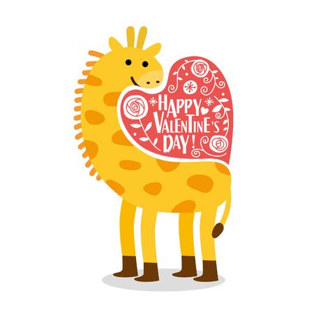 Leuke giraffe Valentijnsdag kaart. Romantische vectorillustratie. Stock Illustratie