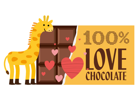 Leuke kaart van de Valentijnskaart van de giraf. Vector illustratie.