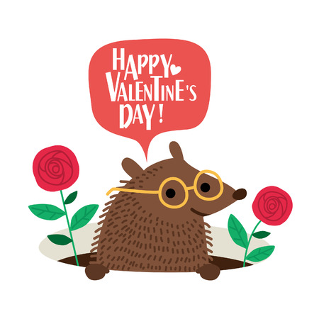 Leuke egel Valentijnsdag kaart. Romantische vectorillustratie. Stock Illustratie