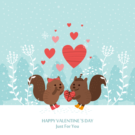 Leuke eekhoorn Valentijnsdag kaart. Romantische vectorillustratie. Stock Illustratie