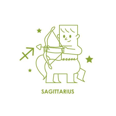 Teken Boogschutter Zodiac Horoscoop. Vector illustratie achtergrond Stock Illustratie