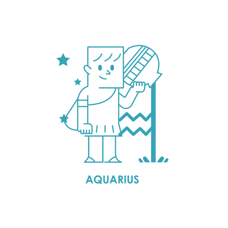 Sign Aquarius Zodiac Horoscope .vector illustration background