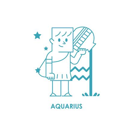 Teken Waterman Zodiac Horoscope .vector illustratieachtergrond Stockfoto - 71714906