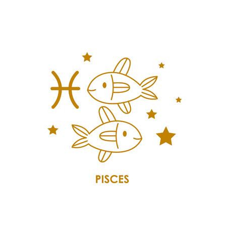 Teken Vissen Zodiac Horoscoop. Vector illustratie achtergrond