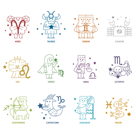 Zodiac icon set - Vector illustratie Stockfoto - 71715549