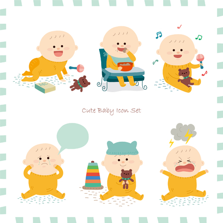 baby toys: Baby icon set.vector illustration