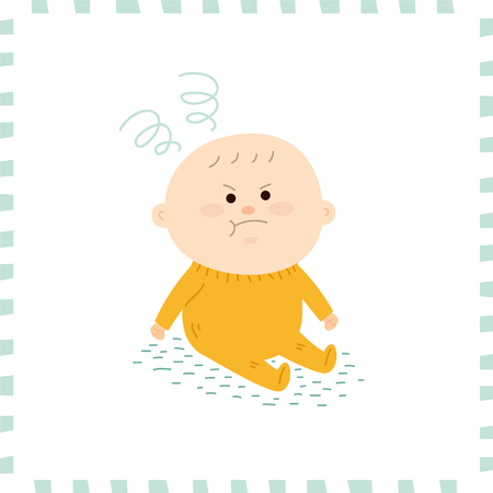 sit: Cute baby boy.vector illustration