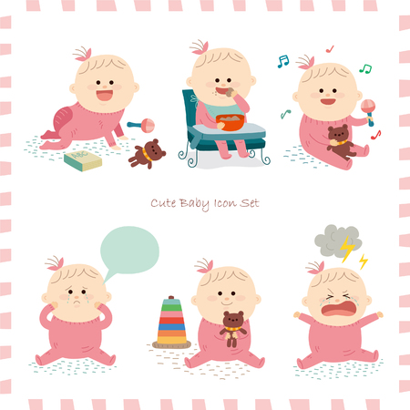 feelings and emotions: Cute baby girl.vector illustration Illustration