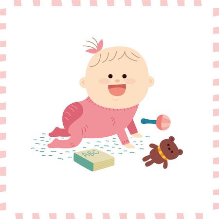 Cute baby girl.vector illustration Illustration