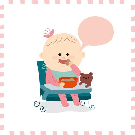 乳幼児: かわいい赤ちゃん girl.vector 図