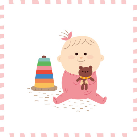 baby toys: Cute baby girl.vector illustration Illustration