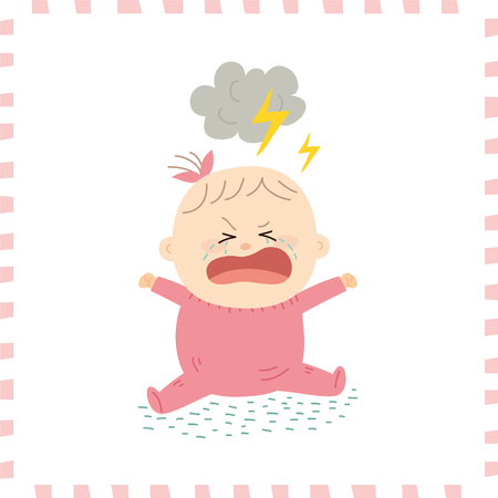 weep: Cute baby girl.vector illustration Illustration