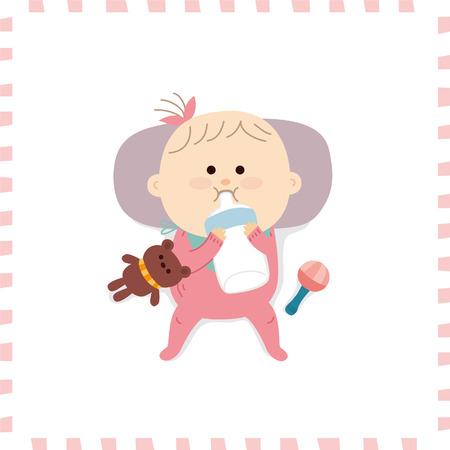 Schattige baby girl.vector illustratie Stockfoto - 72661837