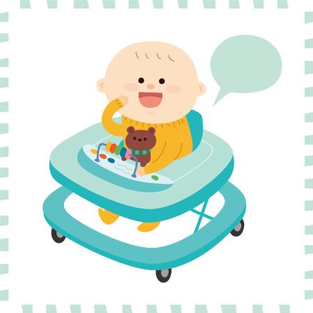 Artistic cute baby boy vector illustration.