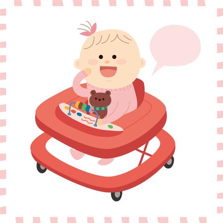 Artistic cute baby girl vector illustration.
