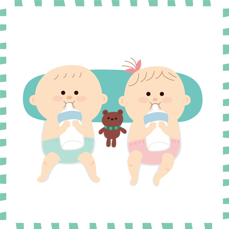 Artistic cute babies vector illustration.