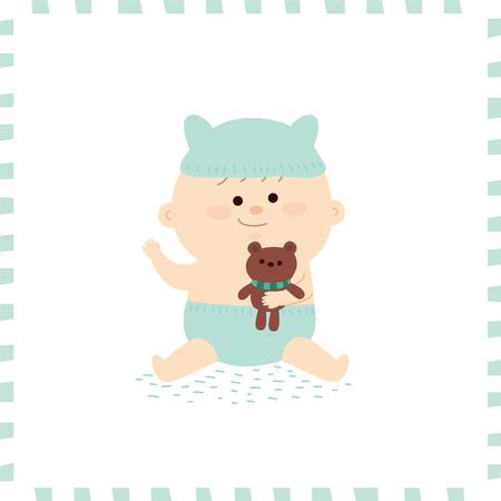 Cute baby boy vector illustration.